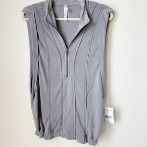 Free People Overcast Pull Over Collar Zip Top M